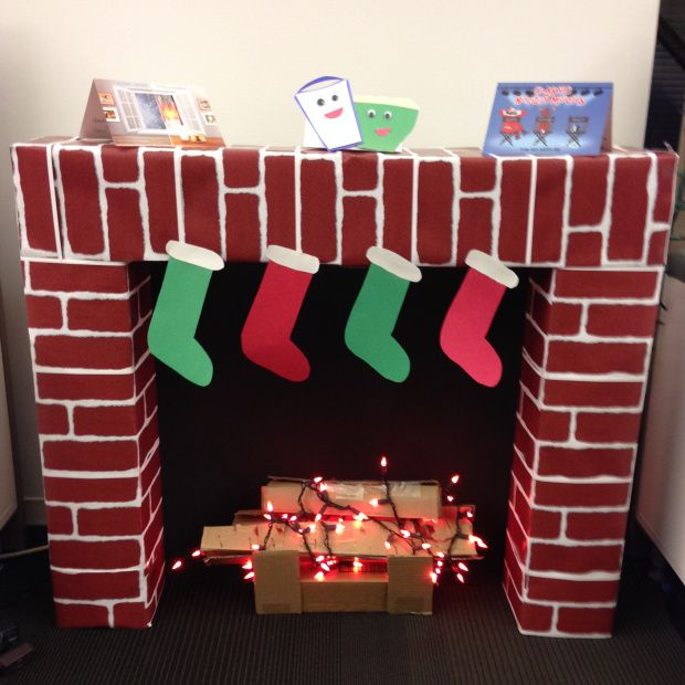 Cardboard faux fireplace #DIY #xmas #craft