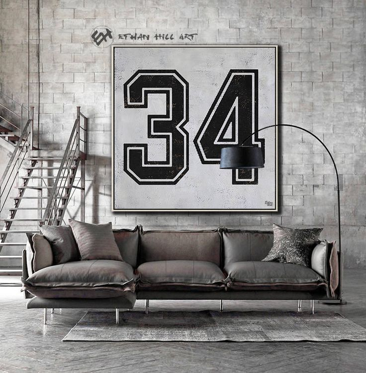Black and White Favorate numbers, Lucky number 34 Painting Large Canvas Art, hand painted Large Wall Art. FREE shipping -Ethan Hill Art #Z25