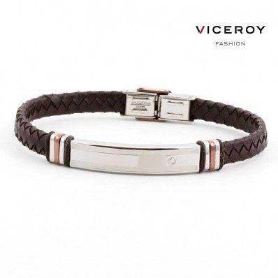 Bonita #pulsera de la marca #Viceroy fabricada en #cuero trenzado plano de color marrón y #acero con combinaciones brillo-mate.