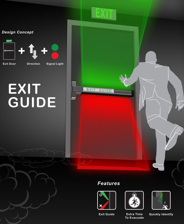 Exit Guide – Emergency Exit Door by Shang-Yi Lin - Exit Guide is an evacuation system linked to the building's fire alarm system. When the alarms go off, the green and red lights on the evacuation door light up, indicating which direction (or floor) you need to move to. | Yanko Design