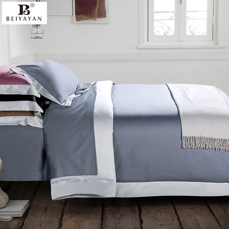 BEIYAYAN solid silver blue bedding set 60s tribute satin kids duvet cover pure cotton skin-friendly duvet cover sets bed linen