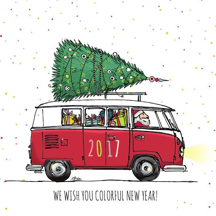 Mooie en grappige kerstkaart van een leuke hippe bus in rood met kerstboom, verkrijgbaar bij #kaartje2go voor € 1,89