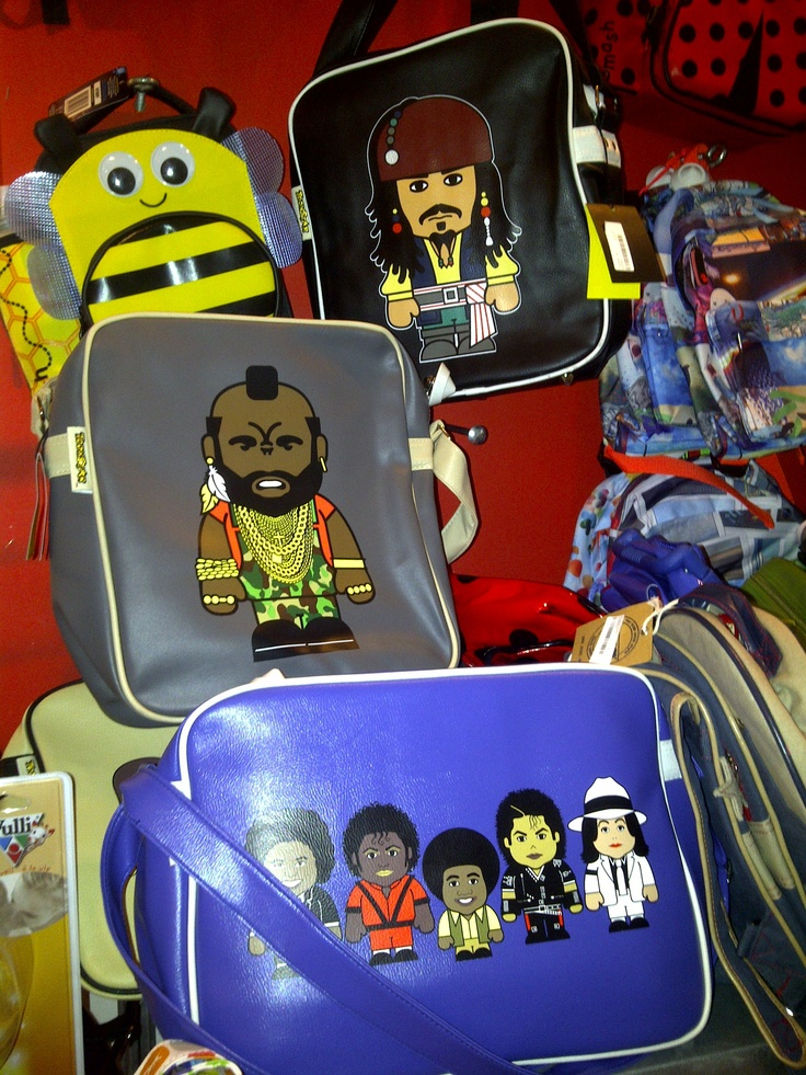 Bags with cartoon Jack Sparrow, Mr. T and the many faces of Michael Jackson. Found in person at Teuntje on Harlemmerstraat, Amsterdam. Search Toonstar bags online.