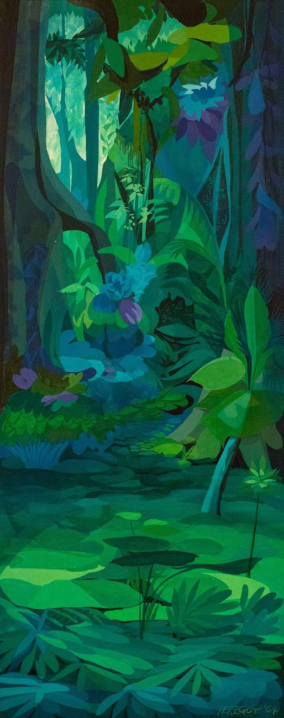 """The Jungle Book"" (1967) concept painting by Walt Peregoy, '101 Dalmatians' Color Stylist"