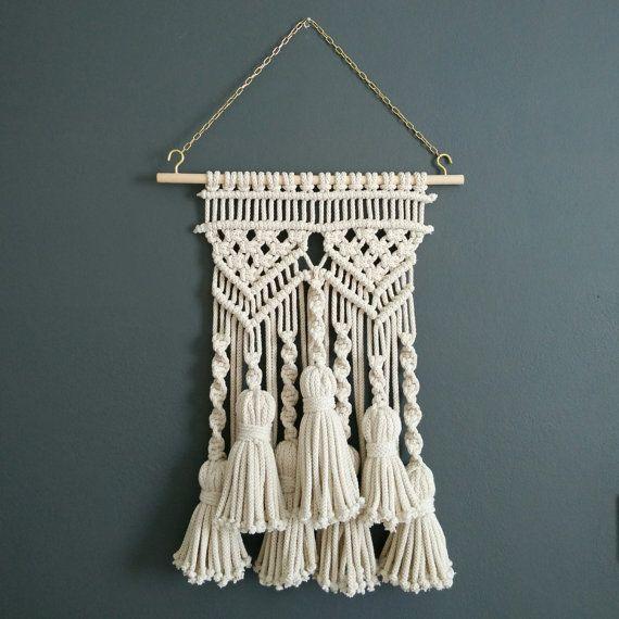 Borla colgante de pared macramé bohemio tejer arte fibra arte textil pared rústica decoración hilo pared decoración macrame pared