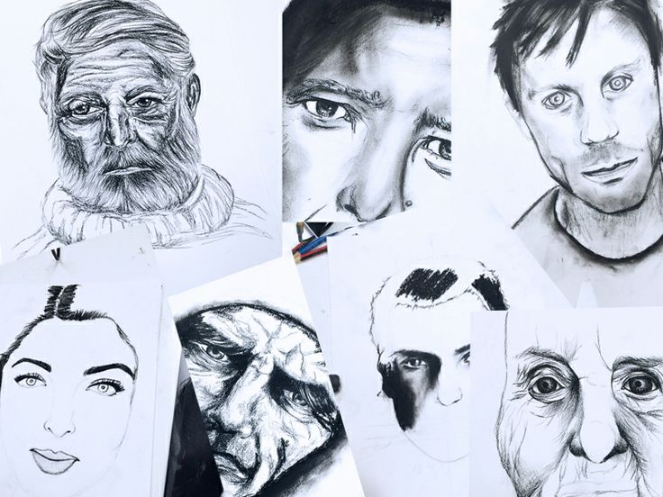 Our students from our kids art classes worked on charcoal portraits - here is a selection of their work in progress. www.artandco.com.au