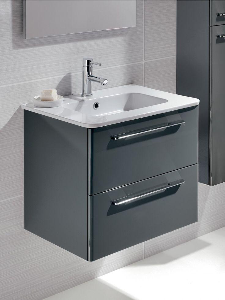 Ramia Gloss Grey 60cm Vanity Unit 2 Drawer And Basin In 2019 Grey Bathroom Vanity Bathroom