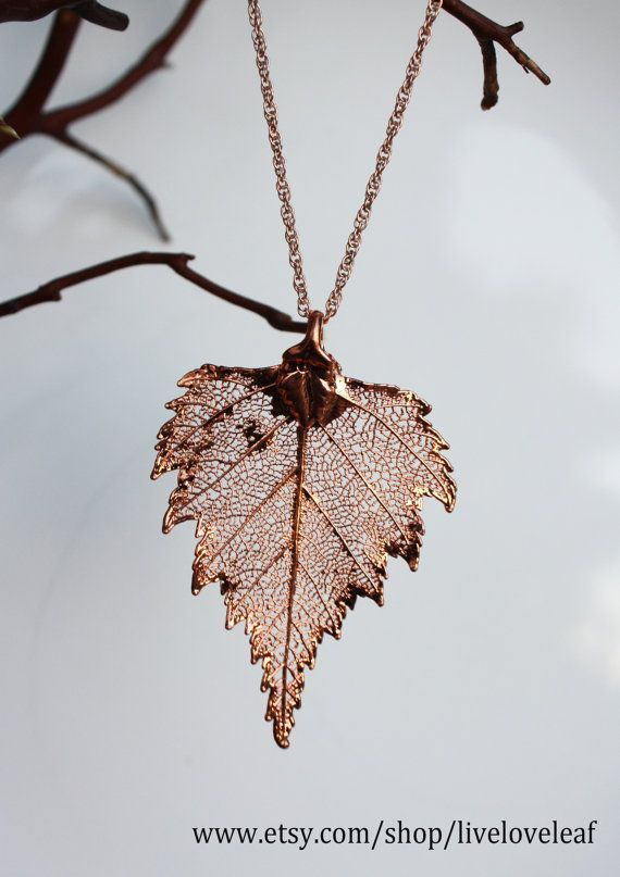 Real leaf Jewelry, Bright Copper / Rose Gold Birch leaf pendant necklace, Bridal, Wedding jewelry, Bridesmaid Gift, Live Love Leaf. $30.00, via Etsy.