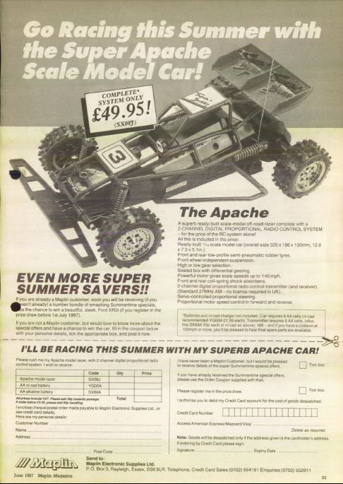 Maplin's 1980s Super Apache Model RC Car Radio Controlled - Only £49.95!