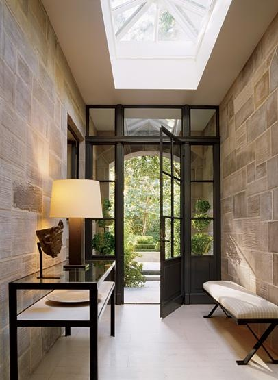 Gorgeous Windowed Front Doors used with portico