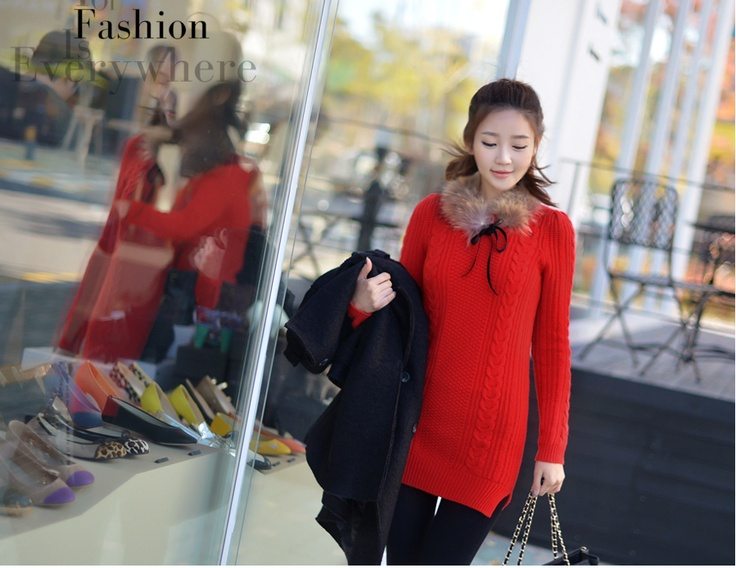 glam red sweater dress, see more on thehallyu.com