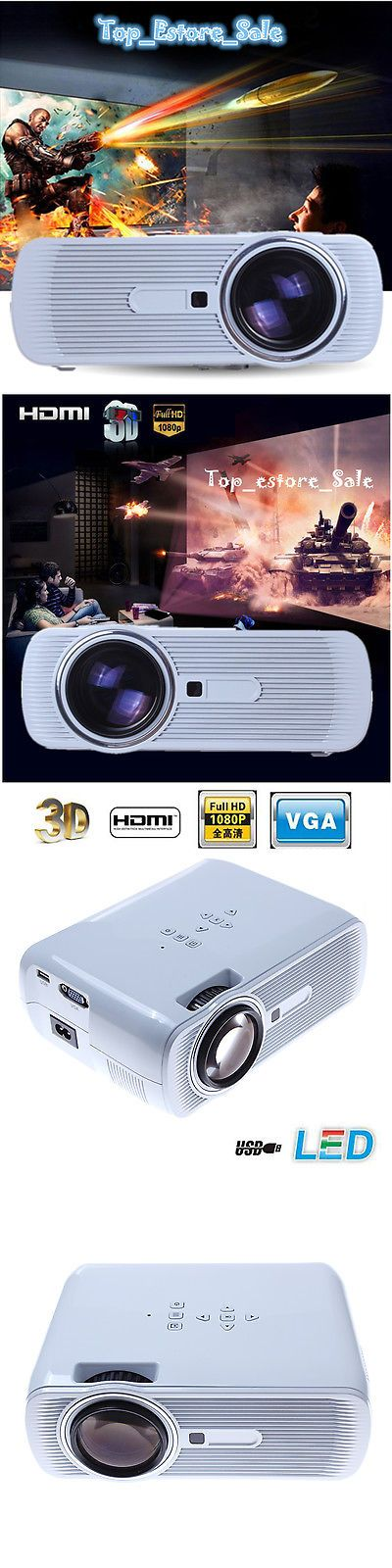Home Theater Projectors: 3000 Lumens Hd 1080P Led Projector Home Movie Theater 3D View Vga Usb Hdmi Tv -> BUY IT NOW ONLY: $96.99 on eBay!