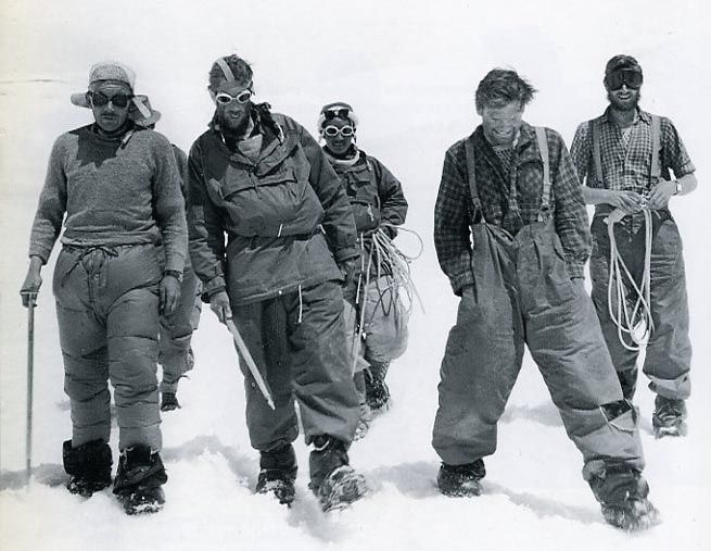 Charles Evans, Edmund Hillary, Tenzing Norgay, Tom Bourdillion and George Band after the 1953 Mt Everest ascent in Nepal.