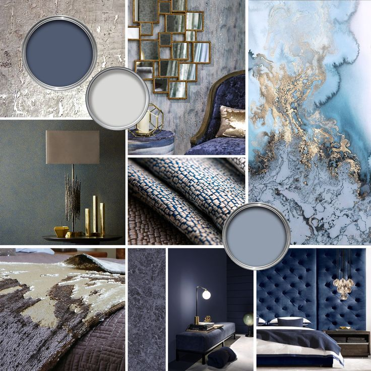 Moodboard Blue Bedroom Colour Concept Board Gold