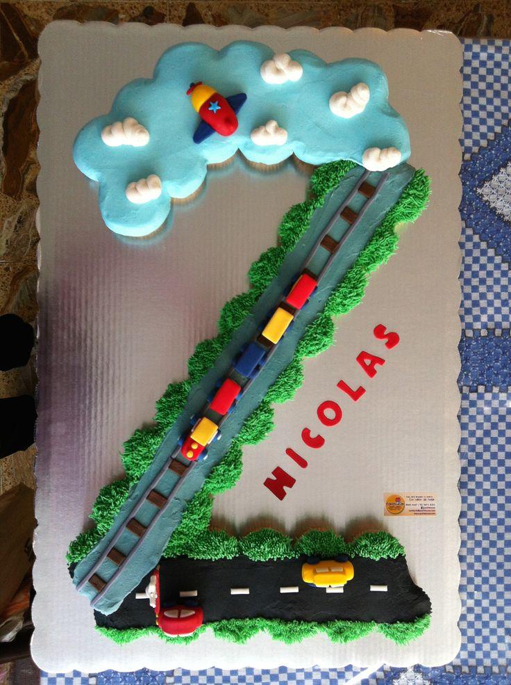 Ways of transportation cake cars, train, airplane