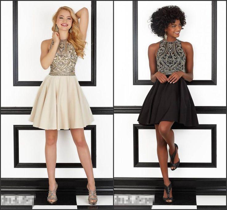 2016 Hot Sales Prom Dresses Halter Neckline Sleeveless Beadings Short Mini Black Party Dresses Homecoming Dresses Juniors Party Dress Lace Party Dresses Uk From Lovemydress, $97.25  Dhgate.Com