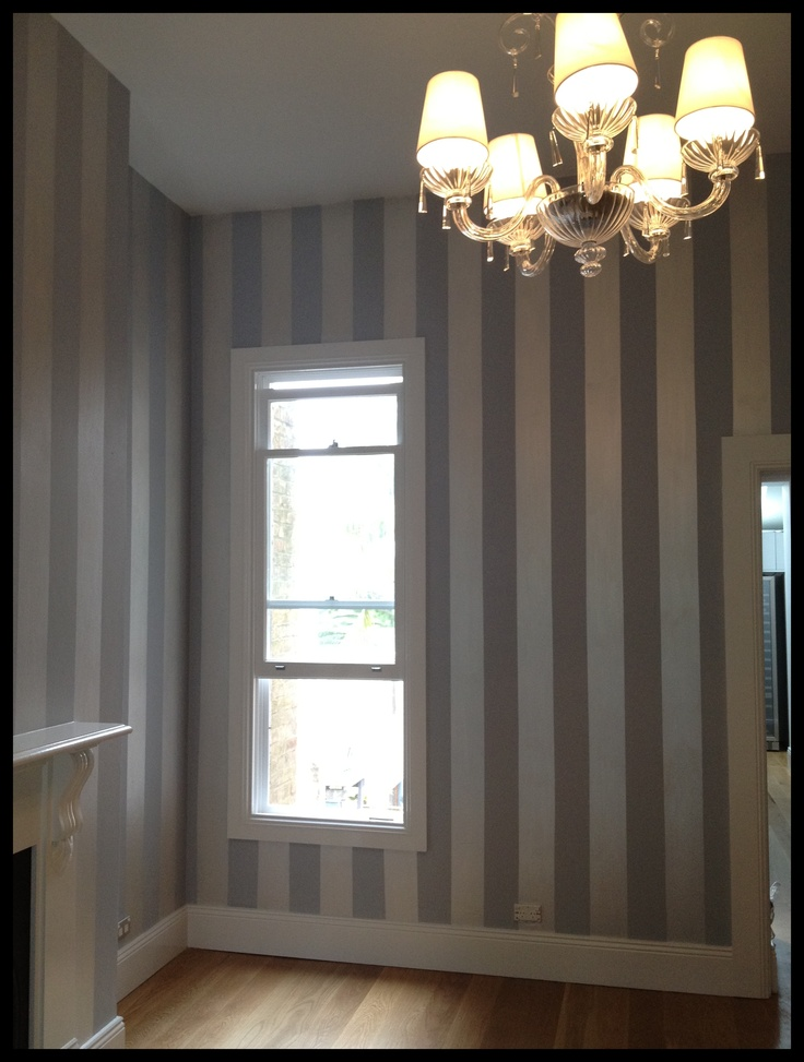 "Wall done in eggshell acrylic in ""elegance"" and stripes in duchess satin in "" oyster white"" - by Ludmilla Braga"