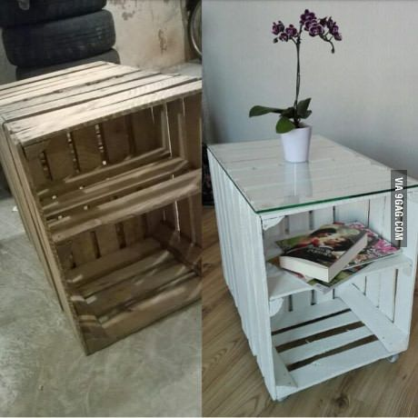 My first DIY ever. Coffee table made out of crates. All by myself.