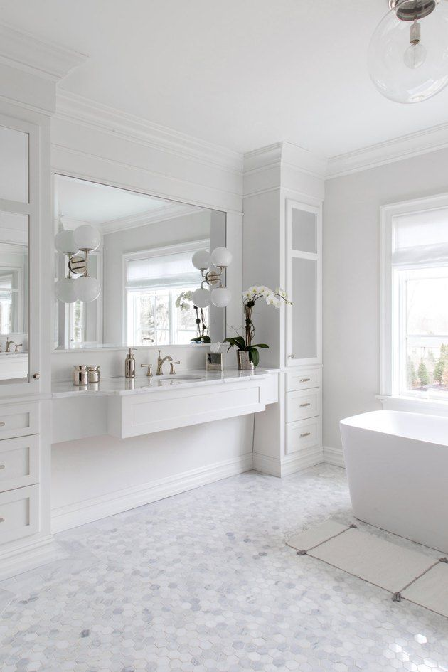 7 Pretty Bathroom Floor Tile Ideas To Pin Even If You Re Not Remodeling Hunker White Bathroom Designs All White Bathroom Bathroom Remodel Master