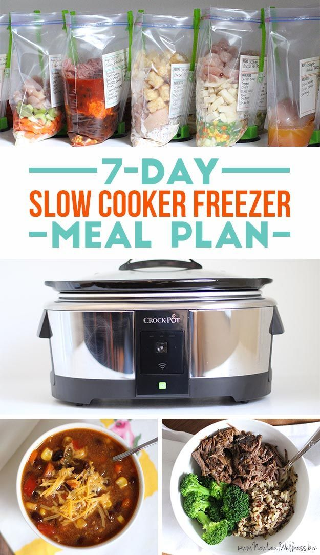 Looking for easy and healthy dinner ideas? Here's a free 7-day slow cooker freezer meal plan w/ printable recipes, a grocery list, & labels for your meals.