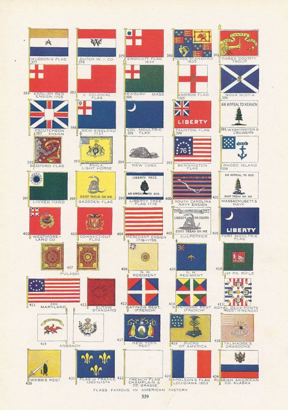 amazing colonial american flags #2: Historic flags of America