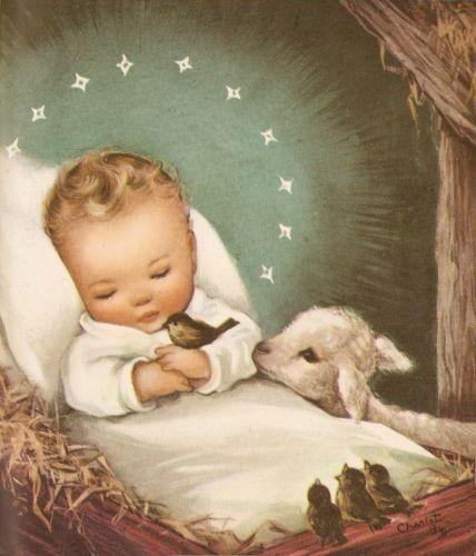 vintage angels with baby jesus   Рождество с малышами Charlot Byi.