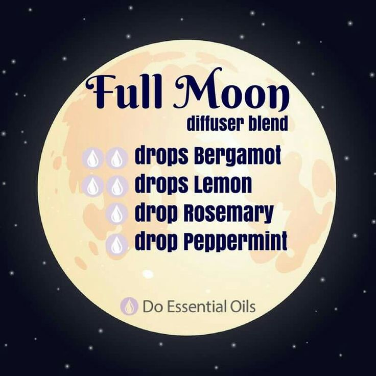 Full moon diffuser blend: bergamot, lemon, peppermint, Rosemary