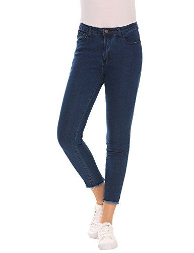 618f8570c9f61 Zeagoo Women s Mid Rise Stretchy 5 Pocket Ankle Skinny Jeans Denim Pants