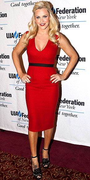 Jenny McCarthy: Another hot blonde in red, Jenny steps out in a curve-hugging design with a black waist-cinching band that she teams with matching ankle-strap heels at The UJA Federation of New York's Entertainment, Media and Communications Leadership Awards Dinner in N.Y.C.