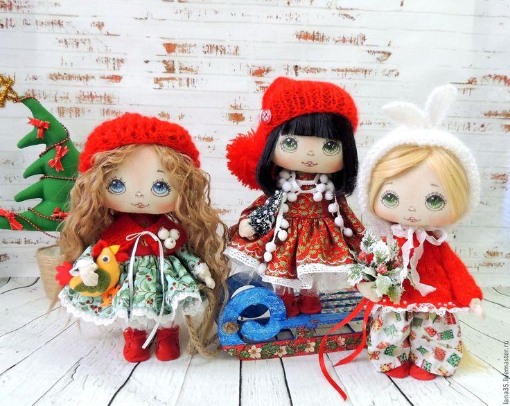 Купить Новогодние малышки - комбинированный, коллекционная кукла, новый год 2017, новогодний подарок, подарок девушке