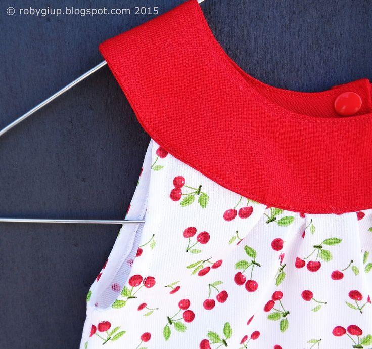 Abito bimba con ciliegie - Girl dress with cherries - RobyGiup handmade #sewing #clothing #baby #birthday #baby-shower #gift #summer