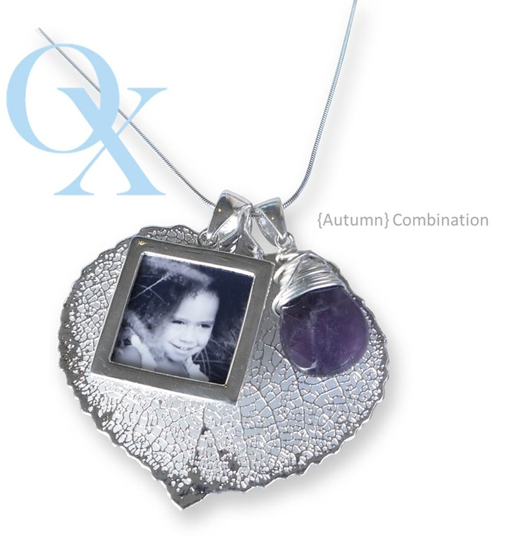 Autumn Combination-  a REAL leaf in sterling silver with a double sided photo pendant. Beautiful! www.lovelinx.ca
