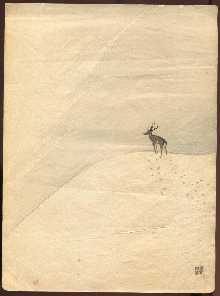 YAMAMOTO SHUNKYO Japanese woodblock print ORIGINAL Extremely Rare!!