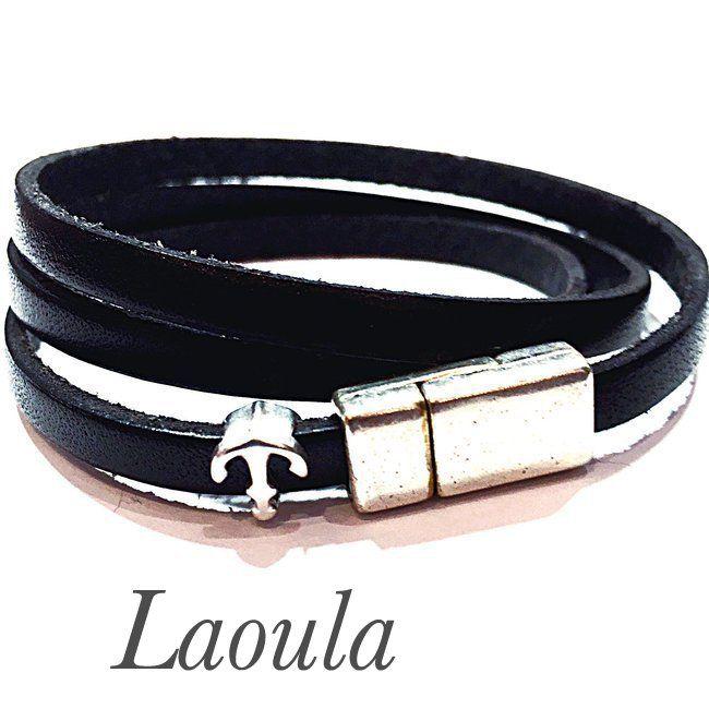 Bracelet cuir adolescent noir et ancre 259214
