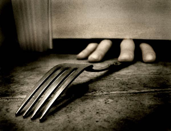 The hand popped out, grabbing James fork. He screamed, like a girl, and his heart nearly jumped out of his chest. James closed his eyes then opened them a second later. Seeing something, once again, made him worry. But he shrugs it off by picking up his fork, slowly, and runs off feeling like the world is changing on him. ~An Idea