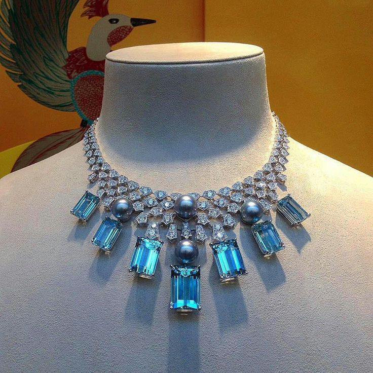 Masterpiece by Cartier! Necklace with aquamarines, natural pearls and diamonds.