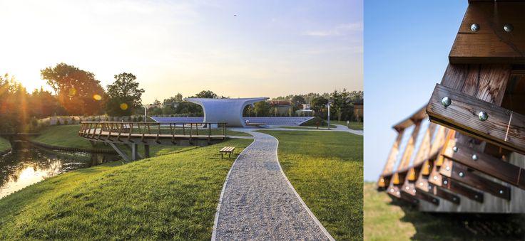 #Architektura w #KazimierzBiskupi - #park. #Amfiteatr i #detal #mostka // #Architecture in Kaziemierz Biskupi, #Poland - #park. #Bridge #detail