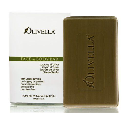 Olivella Virgin Olive Oil Face and Body Bar Soap - 5.29 Oz (Image may vary) by Olivella. $5.49. Does not leave any oily residue on the skin.. Provides the high concentrations of vitamins,. Natural 100 % Virgin Olive Oil base. Hypoallergenic. Suitable for every age group and skin type and gentle for a baby's skin with regular daily use.. The product is not eligible for priority shipping (Image may vary)