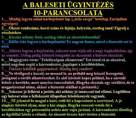 A BALESETI ÜGYINTÉZÉS Tízparancsolata