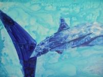 Whale Shark 9  76cm x 102cm  mixed media on canvas  $1,000.00