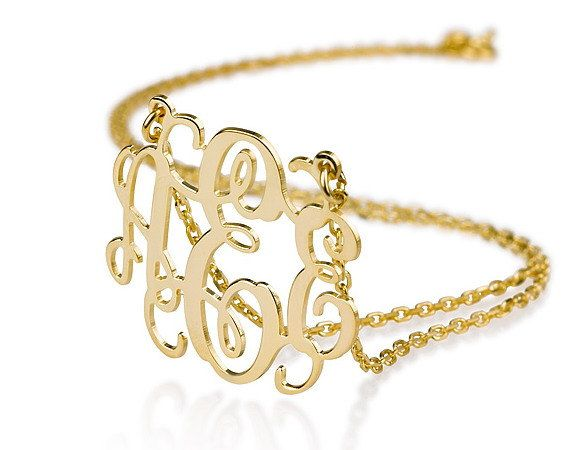 Would be such a beautiful gift idea!   Monogram Necklace 1  18k Gold Plated Name by BestPersJewelry, $41.95