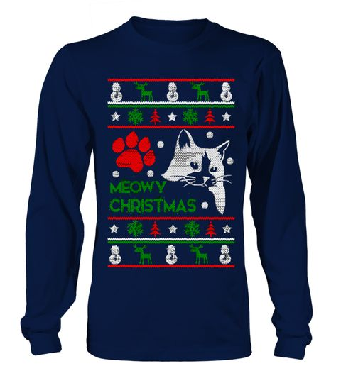Meowy Ugly Christmas Sweater For Cat Lovers kids T-shirt