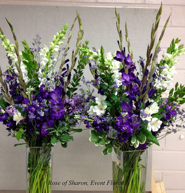 Large arrangements with purple glads. by Rose of Sharon-Event Florist, via Flickr
