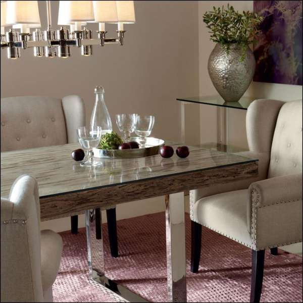 Rustic Glass Top Dining Tables