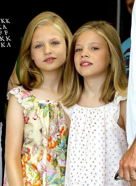 King Felipe, Queen Letizia and their daughters Princess Leonor and Princess Sofia visited the Aifos boat during the last day of 34th Copa del Rey Mapfre Sailing Cup on August 8, 2015 in Palma de Mallorca, Spain.