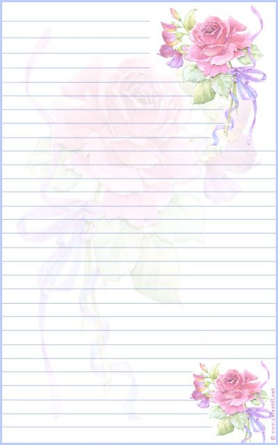 roses lined stationery