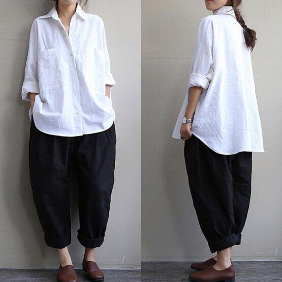 Black radish pants black linen pants loose linen by qinbailiang