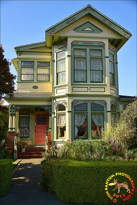 Victorian House - Subtle color differences. Love all the windows with lace curtains... romantic just like the period.