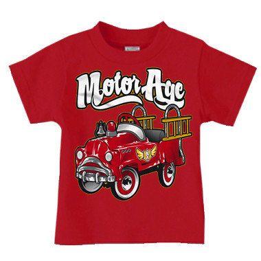 Motor Age Kid Firetruck pedal car TShirt. by MotorAgeClothing, $14.95