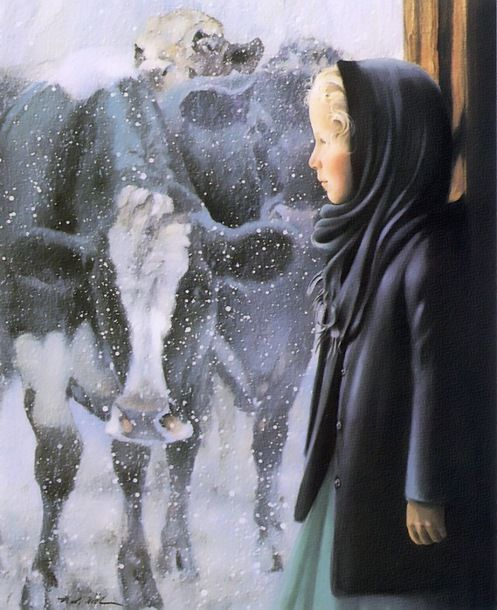 December - Nancy Noel. This is one of my favorites (because of the cows), I can't remember if I have this in my unframed artwork collection. If not I HAVE to buy it.